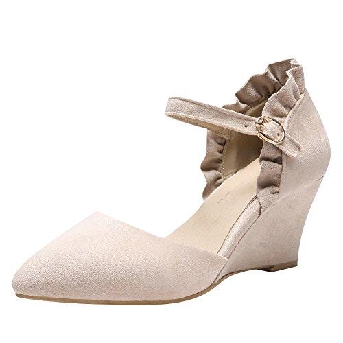 Mee Damen Court Shoes Schuhe Keilabsatz Knöchelriemen Sweet Beige wOaw8q