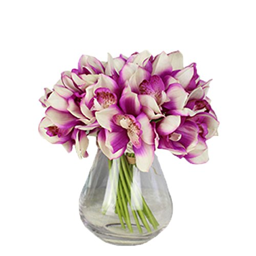 12 PCS High Quaulity Latex Real Touch Cymbidium Orchid Artificial Flower Bouquet for Wedding Holiday Bridal Bouquet Home Party Decor bridesmaid (Purple)