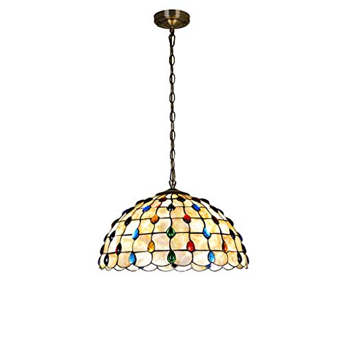 Carl Artbay Tiffany Style Ceiling Light, 14 Inch Color Natural Shell Crystal Phoenix Handmade Lampshade Chandelier Restaurant Study Ceiling Hanging Lamp (Restaurant Phoenix Furniture)