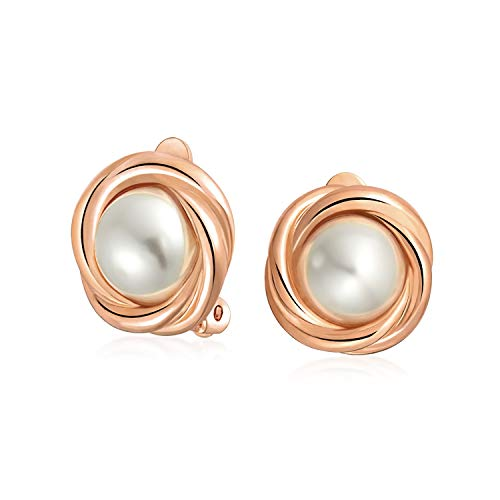 (Cable Bezel Set Dome White Simulated Pearl Clip On Earrings For Women Non Pierced Ears Rose Gold Plated)
