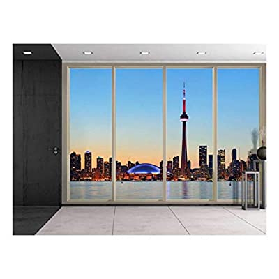 Marvelous Piece of Art, With Expert Quality, Large Wall Mural Cityscape at Night Seen Through Sliding Glass Doors 3D Visual Effect Vinyl Wallpaper Removable Decorating