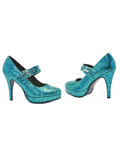 Ellie Women's '421-Jane-G' Glittery Double Strap Mary Jane Heels Blue -