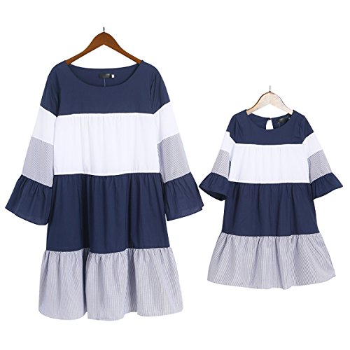 PopReal Mommy and Me Stripes Color Block Trumpet Sleeve Family Matching Dress