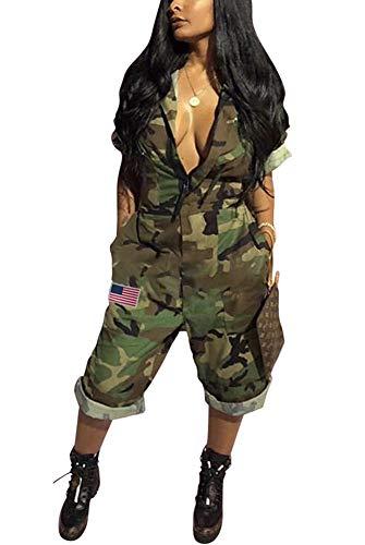 Ladies Camouflage - Women Casual Summer Jumpsuit - Camouflage One Piece Romper Wide Leg Pantsuit Set Playsuit Green XXL