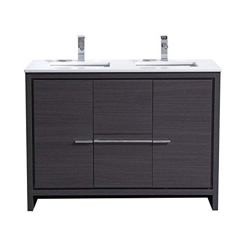 KubeBath Dolce 48″ Double Sink Gray Oak Modern Bathroom Vanity with White Quartz Counter-Top (Top Vanity China White)