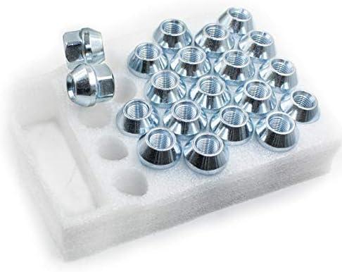 Wheel Accessories Parts Set of 20 Zinc Finish Open-end Acorn Bulge Lug Nuts Set 19mm 3//4 1//2 Hex