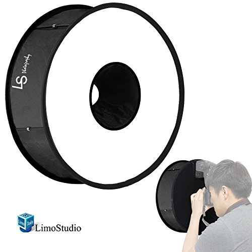 LimoStudio Round Ring Flash Diffuser 18'' Collapsible & Foldable Soft box for Speedlight and Flash Studio by LimoStudio