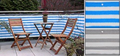 Balkonsichtschutz 600 x 75 cm blau / weiß Balkon Bespannung Sichtschutz Windschutz Blickschutz