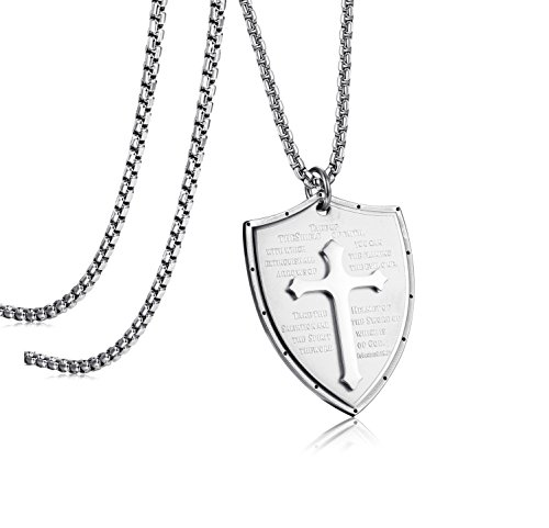LOLIAS Stainless Steel Cross Pendant Necklace for Men Faith Necklace Shield Armor of God Ephesians 6:16-17 Engraved 24 Inches Silver-tone ()