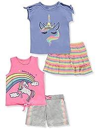 Freestyle Revolution Girls' Rainbow Unicorn 4-Piece Shorts Set Outfit