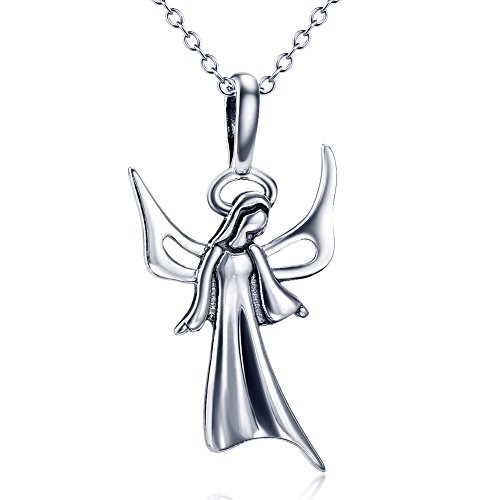 Sterling Silver Cherub (Angel caller Silver Virgin Mary Guardian Angel Cherub Necklace Rolo Chain 18