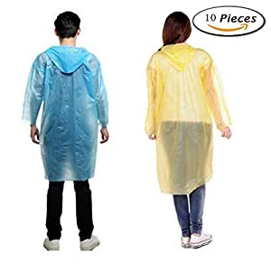 Rain Ponchos Disposable One Size Fit All with Hood in 5 different Colors set of 10 packs