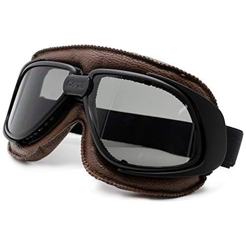 YMYGCC Motorrad Brille Motorrad Goggles Helm Motorrad Goggle Glas Vintage Pilot Biker Leder Moto Bike Goggle 3