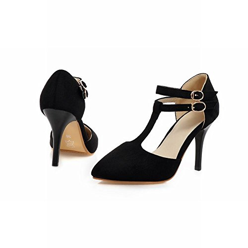 High Heel Black Stiletto Women's Charm Sandals Buckles Shoes Elegant Carol xYwXzIgqz