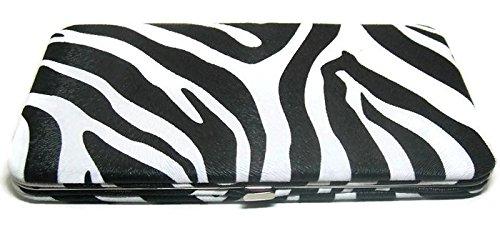 ZEBRA HARD CASE FLAT OPERA WALLET CLUTCH PURSE (Wallet Zebra Clutch)