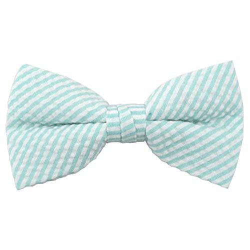 Jacob Alexander Men's Seersucker Pre-Tied Banded Bow Tie - Turquoise ()