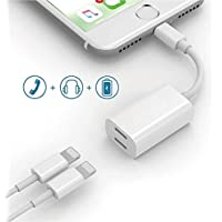 Dual Lightning Adapter Splitter for iPhone 7/7 Plus,LEOGEO Lightning to Double Lightning Headphone Charge Adapter,Support iOS 11/10.3 Devices (White)