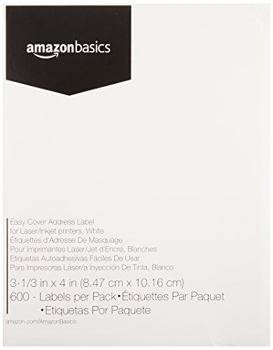 (AmazonBasics Easy Cover Address Labels for laser/Inkjet Printers, White, 3-1/3 x 4 Inch Label, 600 Labels)