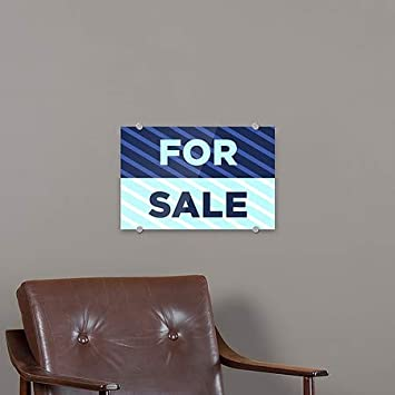 Stripes Blue Premium Brushed Aluminum Sign for Sale 36x24 CGSignLab