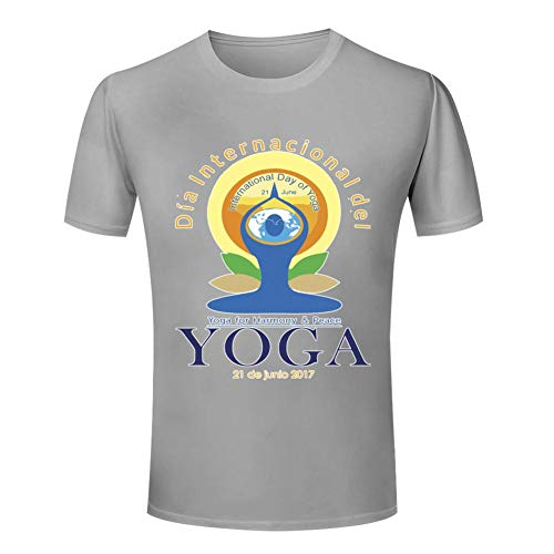 GCASST International Yoga Day Harmony and Peace Printed Women's T Shirt, Cotton Short Sleeve Tees, Graphic Summer Tops Gray