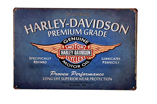 K&H Harley Davidson Motorcycle Motor Oil Retro Metal Tin Sign Posters Wall Decor 12X8-Inch