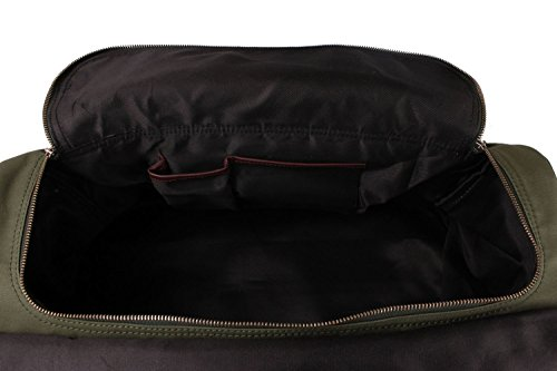 Viosi Balboa Leather Waxed Canvas Weekender Duffel Bag with Matching Toiletry Bag [Hunter Green] by Viosi (Image #6)