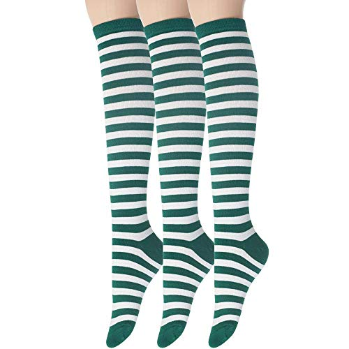 Sockstheway Womens Casual Knee High Tube Socks with Colorful Stripe Two-Line Pattern (Green, 3Pairs) -