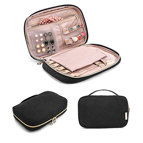 bagsmart Jewelry Organizer Bag Travel Jewelry Storage Cases for Necklace, Earrings, Rings, Bracelet, Black