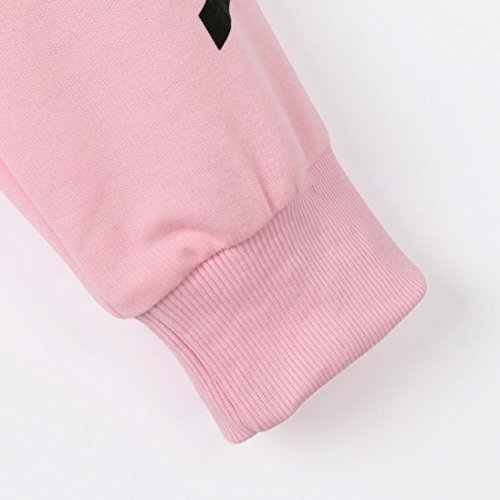 Angelof Sweatshirt Femme A Capuche Femmes Lettres  Manches Longues Courte Sweat-Shirt Pull-Over Chemisier Rose