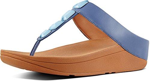 FitFlop Roka Toe-Thong, Sandales Plateforme Femme, Noir Indian Blue