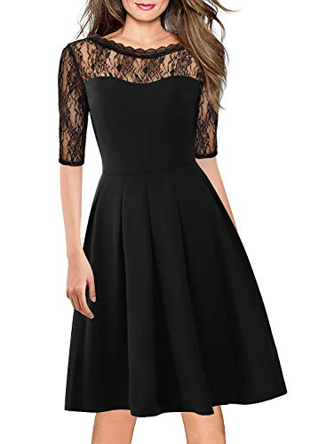 Women's Vintage 1970s 80s 90s Floral Lace Cocktail Party Swing Dress Ladies Formal Casual Outdoor Prom Bridesmaid Dresses 156 Black S