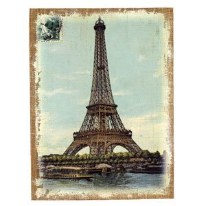 vintage eiffel tower reproduction art print on stretched burlap wood frame 12 x 16