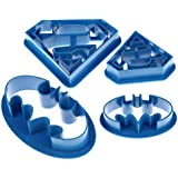 4 pieces of batman and superman Cookie Cutter, Plastic Sandwiches Cutter Biscuit Mold Cookie Cutter for Kids Suitable for Cakes
