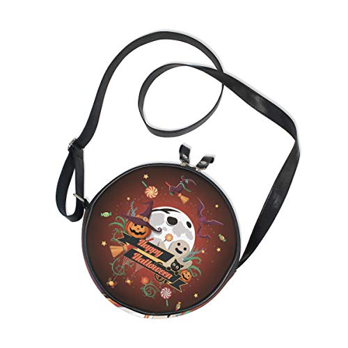 AHOMY Halloween Pumpkin Broom Bat Cat Women Round Bag Kids Crossbody Circle Purse Canvas Bag