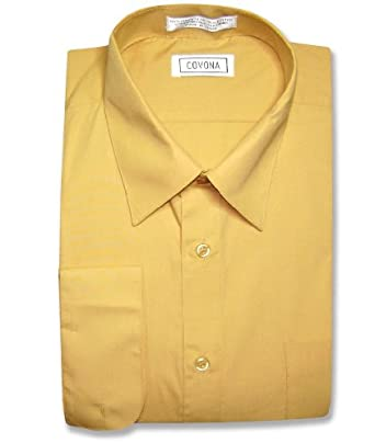 Men's Solid Gold Color Dress Shirt w/ Convertible Cuffs at Amazon ...