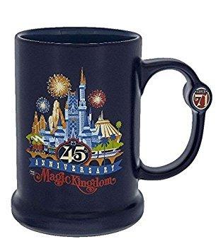 Disney Parks Magic Kingdom 45th Anniversary Blue Ceramic Coffee Mug 16oz (Best Fireworks Display At Disney World)