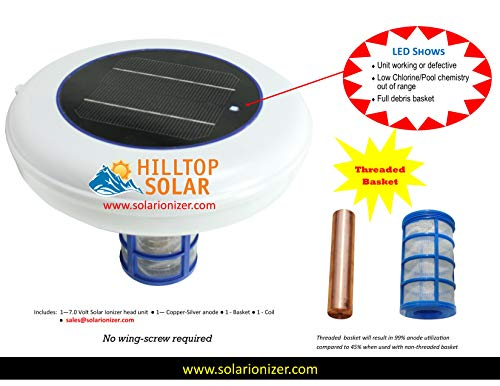 Solar Pool Ionizer Purifier with LED (ON When Unit Works) & Threaded Basket (99% Anode Usage) - 7.0 Volts - Use 80% Less Chlorine & Saves Money on Electricity and Pool Maintenance