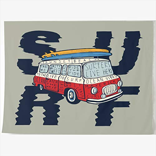 AlliuCoo Tapestry Home Decor 60 x 50 Inches Beach Surf Vintage Bus Journey Bright Surfboards Sports Recreation Design Hand Tapestries Wall Hangings Art for Bedroom Living Room (Lifestyle California Living Room Table)