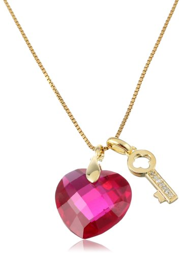Gold-Plated-Sterling-Silver-Created-Ruby-and-Diamond-Heart-and-Key-Pendant-Necklace-18