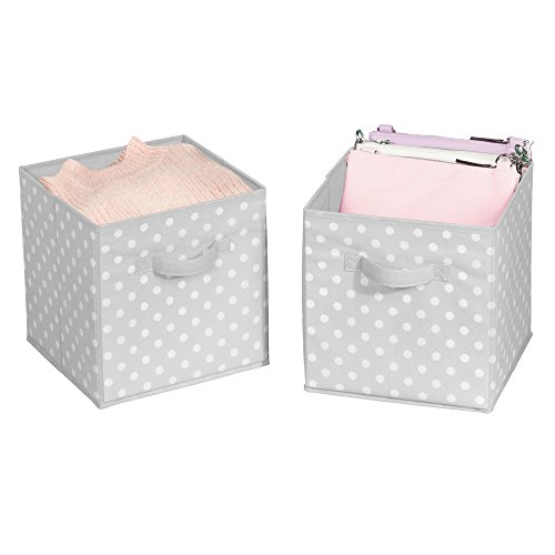 mDesign Soft Fabric Closet Organizer Bin Box - Front Handle - Cube Storage for Child/Kids Room, Nursery, Toy Room, Furniture Organization - 10.5'' high - 2 Pack, Gray with White Polka Dots by mDesign