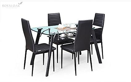 Royaloak Milan Four Seater Dining Table Set Black Amazonin Home Kitchen