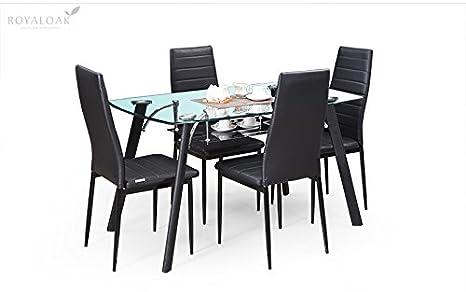 Royaloak Milan Four Seater Dining Table Set Black Amazon In Home