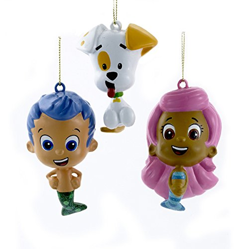 Kurt Adler Bubble Guppies Gil, Molly, And Bubble Puppy Blow Mold Ornaments -