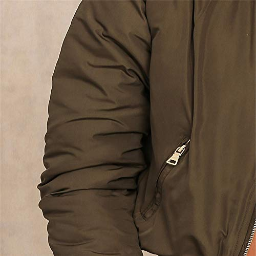 Bomber S Outwear Apparel Jacket Biker Cool Parkas Donna Down Army Winter L Hpklsder Imbottito Zipper Green Cappotto Basic ZTwqXXd