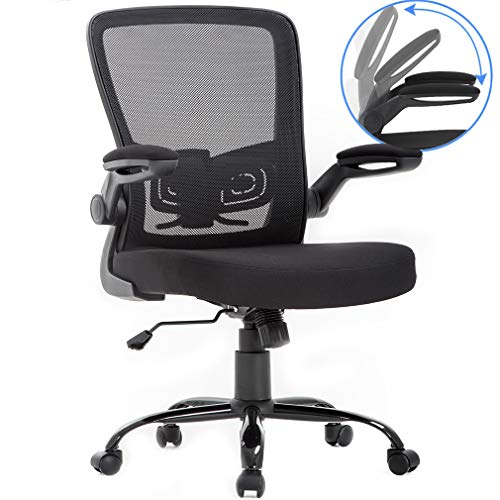 BestOffice Mid-Back 1 Pack Mesh Office Chair Executive Ergonomic Desk Chair Rolling Computer Chair with Flip Up Armrest Lumbar Support Swivel Chair for Women and Men, Black