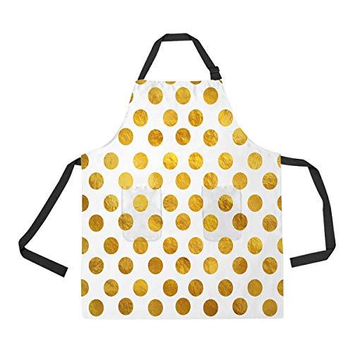 (ECZJNT Gold White Polka Dot Swiss Dots Adjustable Bib Kitchen Apron with Pockets for Women Men)