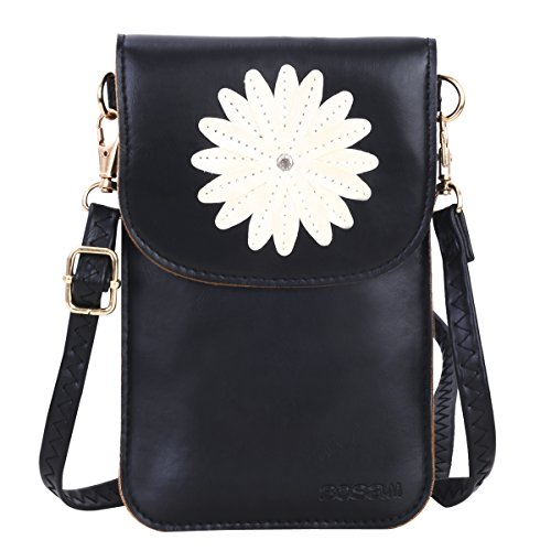 Bosam Small Cell Phone Purse,Cute Crossbody case with Floral Pattern,Touch Screen wallt Bag(Black)