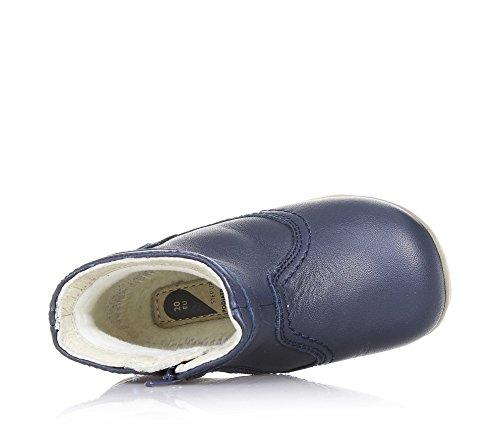 BOBUX - Bottine bleue en cuir, extrêmement flexible, qui permet une croissance sans restriction, réalisée avec teintures et matériaux non-toxiques, avec fermeture éclair latérale, garçon ou fille