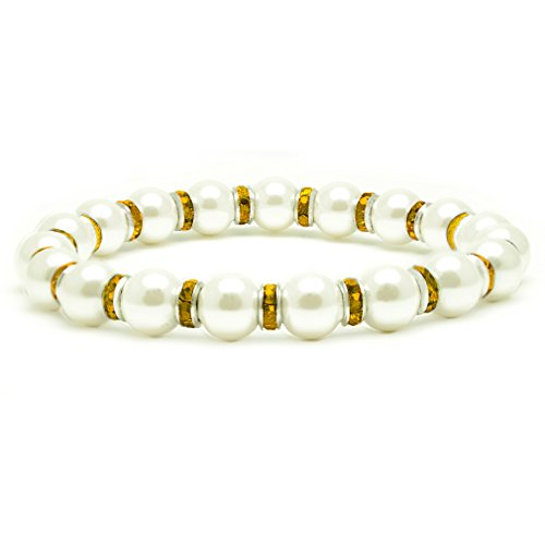 (Accents Kingdom Women's Magnetic Hematite White Tuchi Simulated Pearl Bracelet with Simulated Citrine Crystal, 7.5