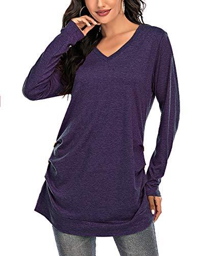 CIZITZZ Women's Long sleeve V neck T Shirts Tunic Tops Loose Fit Purple L